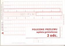 Polecenie przelewu/wpłata gotówkowa - papier samokopiujący - 2-odcinkowe - bloczek 80 kartkowy
