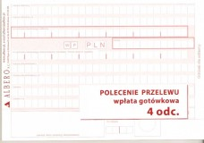 Polecenie przelewu/wpłata gotówkowa - papier samokopiujący - 4-odcinkowe - bloczek 80 kartkowy