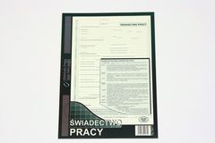 Świadectwo pracy - papier samokopiujący - blok 40 kopii