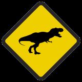 Śmieszne znaki drogowe surrealistyczne, alegoryczne (dinozaur)