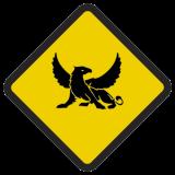 Śmieszne znaki drogowe surrealistyczne, alegoryczne (gryf)