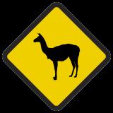 Śmieszne znaki drogowe ze zwierzętami (lama)