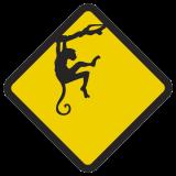 Śmieszne znaki drogowe ze zwierzętami (małpa 2 )