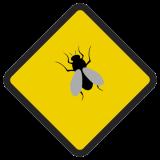 Śmieszne znaki drogowe ze zwierzętami (mucha)