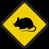 Śmieszne znaki drogowe ze zwierzętami (mysz)