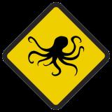 Śmieszne znaki drogowe ze zwierzętami (ośmiornica)