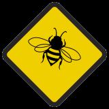 Śmieszne znaki drogowe ze zwierzętami (osa)
