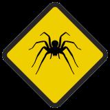 Śmieszne znaki drogowe ze zwierzętami (pająk)