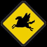 Śmieszne znaki drogowe surrealistyczne, alegoryczne (pegaz)