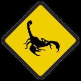 Śmieszne znaki drogowe ze zwierzętami (skorpion)