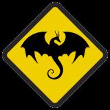 Śmieszne znaki drogowe surrealistyczne, alegoryczne (smok)