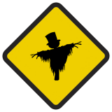 Śmieszne znaki drogowe surrealistyczne, (strach na wróble)