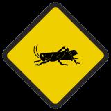 Śmieszne znaki drogowe ze zwierzętami (szarańcza)