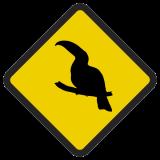 Śmieszne znaki drogowe ze zwierzętami (tukan)