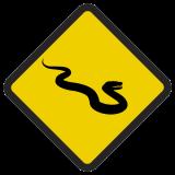 Śmieszne znaki drogowe ze zwierzętami (wąż)