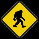 Śmieszne znaki drogowe surrealistyczne, alegoryczne (yeti)