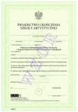 Świadectwo ukończenia szkoły artystycznej ART/23