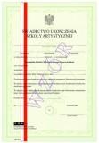 Świadectwo ukończenia Poznańskiej Szkoły Chóralnej Jerzego Kurczewskiego, z wyróżnieniem, ART/24/w