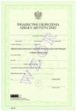 Świadectwo ukończenia Miejskiej Szkoły Artystycznej I stopnia im. Konstantego Ryszarda Domagały w Mińsku Mazowieckim, ART/28