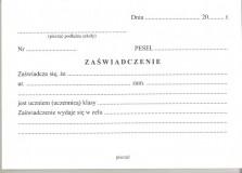 MEN-IV/34 - Zaświadczenie dla ucznia szkoły