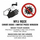 Obrazkowa instrukcja sanitarna: Myj ręce - chroń siebie i innych