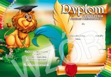 Dyplom ukończenia oddziału przedszkolnego (z treścią, linie pomocnicze) DS23