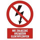 Nie załączać urządzeń elektrycznych - 21x29 - znak