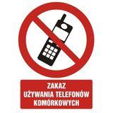 Tabliczka - Zakaz używania telefonów komórkowych - 21x29 cm