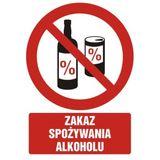 Tabliczka - Zakaz spożywania alkoholu - 21x29 cm