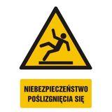 Tabliczka - Niebezpieczeństwo poślizgnięcia się - 15x22 cm