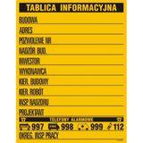 Tablica budowy. Budowlana tablica informacyjna żółto-czarna 90 x 70 cm