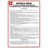 Tablica - Instrukcja w sprawie zapewnienia bezpieczeństwa ppoż. garaży i warsztatów samochodowych