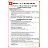 Tablica - Instrukcja przeciwpożarowa - profilaktyka ppoż. dla wszystkich pracowników