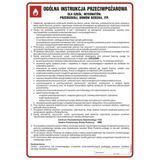 Tablica - Ogólna instrukcja przeciwpożarowa dla szkół, internatów, przedszkoli, domów dziecka itp.
