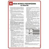 Tablica - Ogólna instrukcja przeciwpożarowa dla magazynu