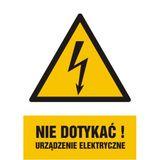Znak - Nie dotykać! Urządzenie elektryczne - 10x14 cm