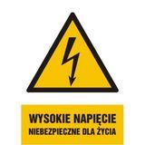 Znak - Wysokie napięcie niebezpieczne dla życia - 14x21 cm