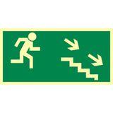 Droga ewakuacyjna schodami w dół w prawo - 15x30 - znak