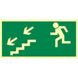 Droga ewakuacyjna schodami w dół w lewo - 15x30 - znak