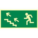 Tabliczka - Kierunek do wyjścia drogi ewakuacyjnej schodami w górę w lewo - 20 x 40 cm