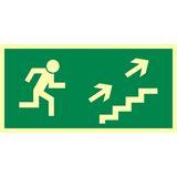 Tabliczka - Kierunek do wyjścia drogi ewakuacyjnej schodami w górę w prawo - 20 x 40 cm