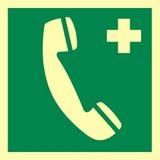Tabliczka - Telefon alarmowy do wezwania pierwszej pomocy - 15 x 15 cm