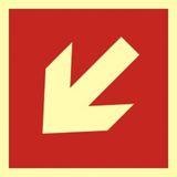 Tabliczka - Kierunek do miejsca rozmieszczenia sprzętu pożarniczego lub urządzenia ostrzegającego - 15 x 15 cm