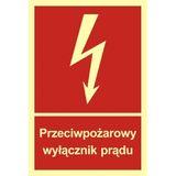 Tabliczka - Przeciwpożarowy wyłącznik prądu - 20 x 28,2 cm