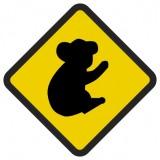 Śmieszne znaki drogowe z egzotycznymi zwierzętami (koala)